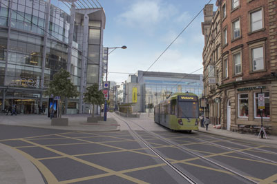An artist's impression of the new Metrolink Exchange Square stop