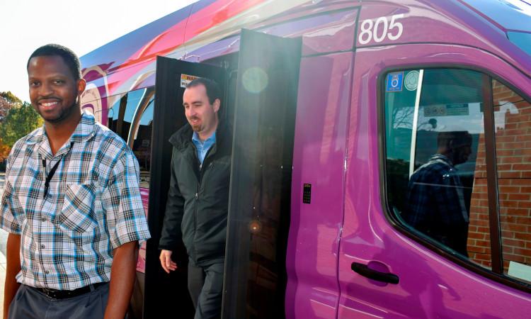 Passengers coming off Akron METRO's FlexRide service