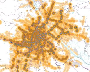 The coverage of public transport services in Vienna encompasses nearly all settlement areas, with a large share (illustrated in brown) enjoying the highest quality accessibility