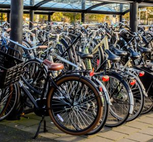 Cycle storage spaces at train station