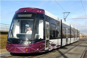 Blackpool tramway's new Bombardier Flexity 2 lowfloor articulated tram