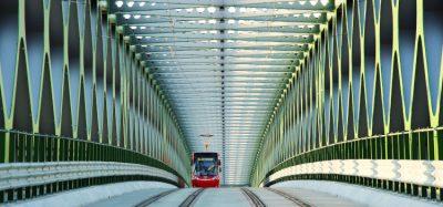 Tram travels over a bridge in Slovak capital Bratislava