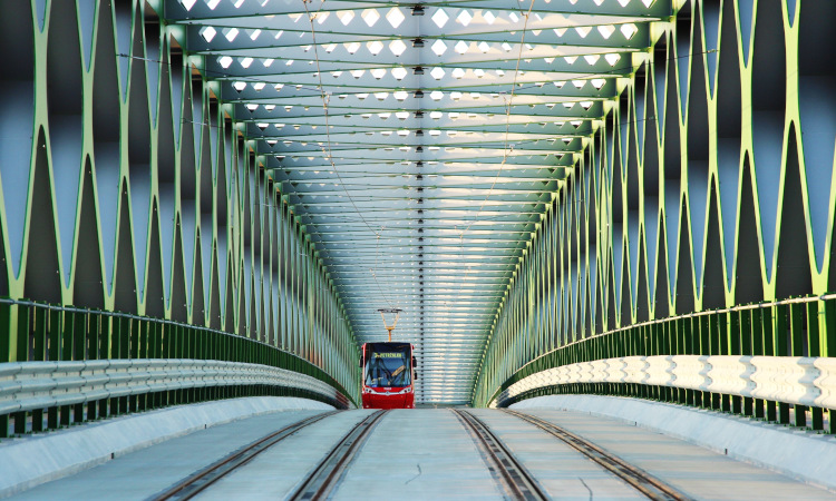 Tram travels over a bridge in Slovak capital Bratislava