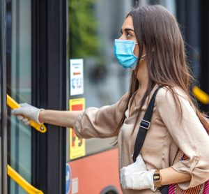 Mask-wearing bus rider protected against COVID