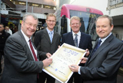 Centro Chairman, Cllr John McNicholas, Metro Manager, National Express Midland Metro, Dean Watkins, Centro Chief Executive Geoff Inskip and National Express UK Bus Managing Director Peter Coates