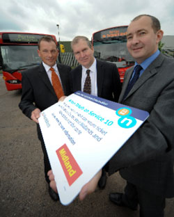 Kevin Crawford of Midland, left, Councillor Jon Hunt and Andy Foster of National Express West Midlands launch the joint ticket for the Number 10 service.