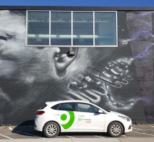 One of the 200 Hyundai Accent hatchbacks that makes up Communauto FLEX, a free-floating car-sharing service in Toronto