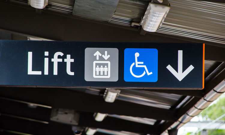 Disabled access sign on train platform