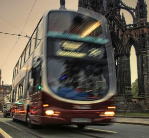 Bus travelling through Edinburgh