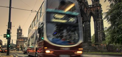 Bus travelling through Edinburgh