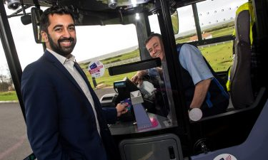 Humza Yousaf MSP (left) with First Glasgow Driver Jimmy Lillis