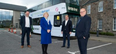 07/10/20 L-R Coucillor Douglas Lumsden, Councillor Jenny Laing, Jo Bamford, Wrightbus owner and Executive Chairman,David Phillips, Operations Director for First Aberdeen. The world's first hydrogen-powered double decker bus was revealed today in Aberdeen which showcases the city as a trailblazer in hydrogen technologies.The arrival of the first bus in the city underlines the city's role as the energy capital of Europe and shows its commitment to the transition of green energy from oil and gas as part of the Net Zero Vision.The hydrogen double deckers will be spotted around the city for several weeks during a period of final testing along with training for drivers, with the buses expected to be in service next month. The buses are as efficient as electric equivalents, with refuelling taking less than 10 minutes and offering a greater range. Water is the only emission from the vehicles which reduces carbon emissions and the new buses continues to contribute to the city's commitment to tackling air pollution.