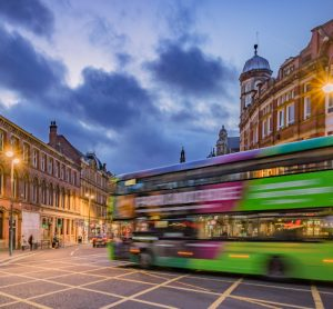 Bus driving through Leeds' planned Clean Air Zone