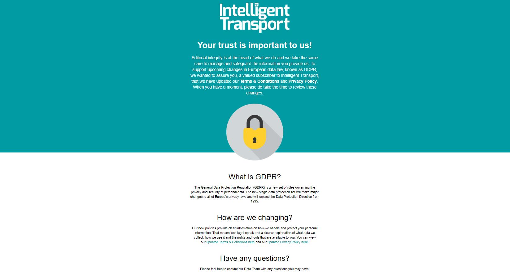 Intelligent Transport GDPR email