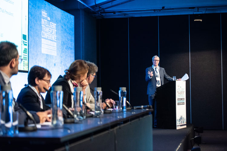 A panel of transport experts during a debate at Intelligent Transport Conference 2018