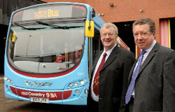 Centro Chairman Cllr John McNicholas (left) and Peter Power, managing director of National Express Coventry with one of the new £6 million bus fleet
