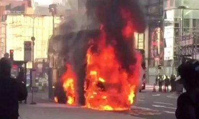 Investigation begins after London double-decker hybrid bus bursts into flames