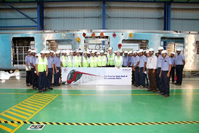 First car body shell for the Lucknow Metro Train unveiled