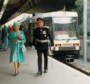 The Queen arriving in Bury in 1992