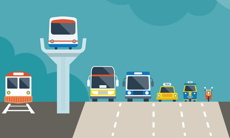 Modes of transport including bus, train, metro for the complete multimodal trip