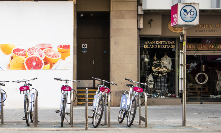 nextbike bike-share station in Glasgow