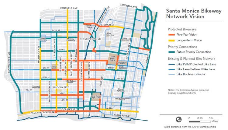 Santa Monica bikeway network vision