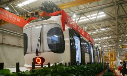 China's first Sky Train unveiled