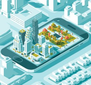 Smart urban mobility illustration