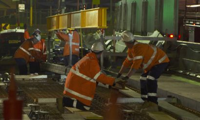 First section of track laid for Sydney Light Rail project