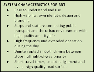 System Characteristics for BRT