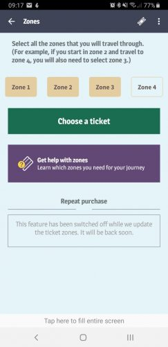 TfGM mobile ticketing app zonal system