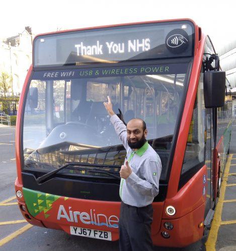 Transdev bus displaying NHS sign