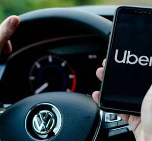 Uber app as the ride-hailing company partners with SK Telecom
