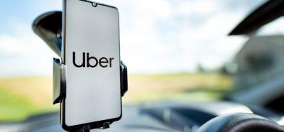 Uber app in car