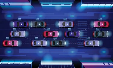 Connected and autonomous vehicles network, which could have cyber-security vulnerabilities