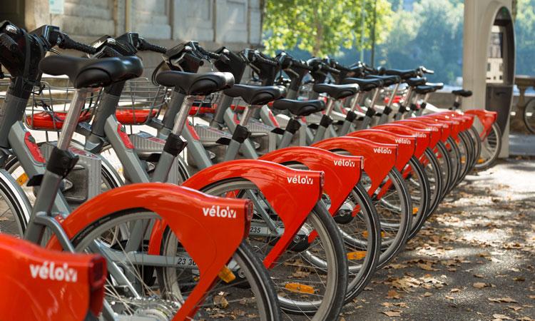 Velov bike rental system in Lyon France