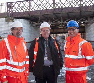 PIC (L-R): Transport for Greater Manchester Committee Chair, Councillor Andrew Fender, Leader of Rochdale Borough Council and Cabinet Member for Regeneration, Councillor Richard Farnell and Scheme Project Manager for Network Rail, Lawrence Cheung.