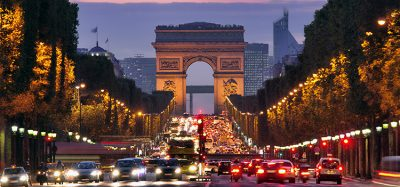 champs elysees paris at night