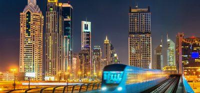 Dubai metro at night