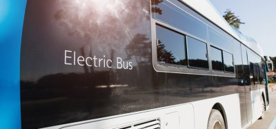 electric bus driving in town