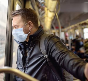 key worker using public transport