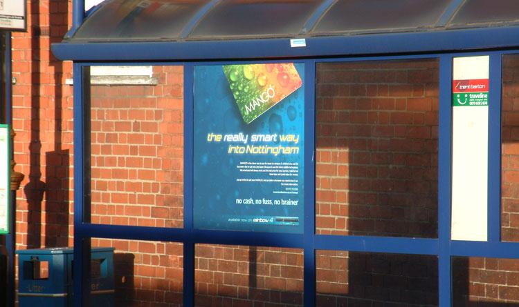 MANGO smart card advert on bus stop