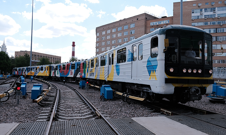Moscow metro graffiti train