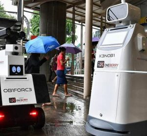 Security robots trialled at MRT station in Singapore