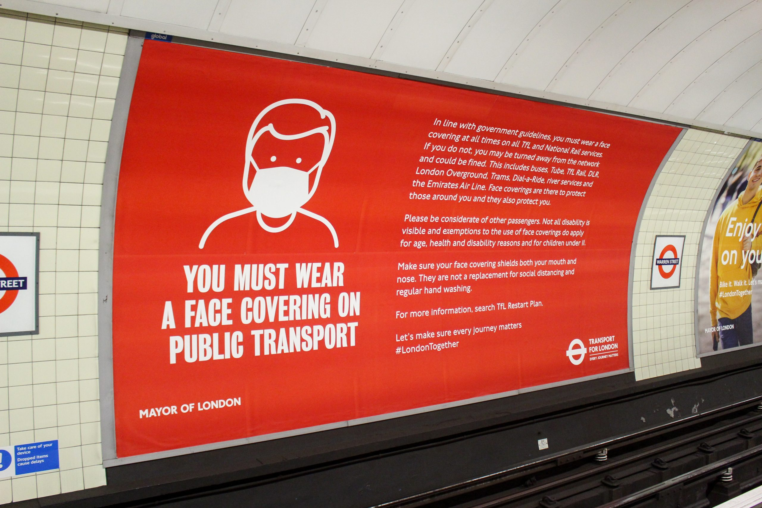 mask wearing poster TfL