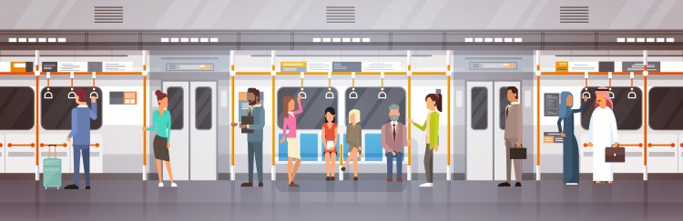 people on tram
