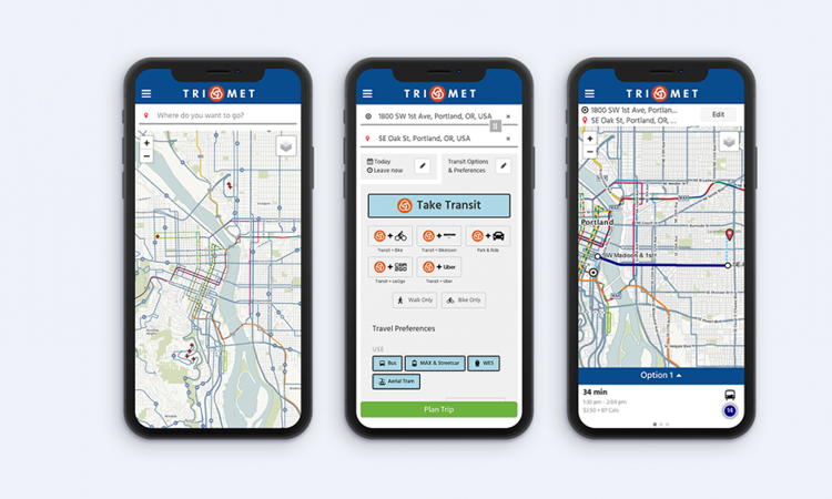 Uber, SHARE NOW and BIKETOWN all available TriMet's new trip planner