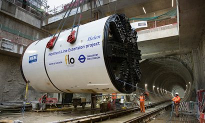 Two giant tunnel boring machines lowered into place for Northern Line Extension