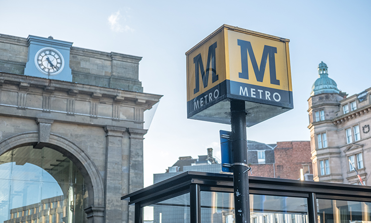 tyne and wear metro sign in Newcastle